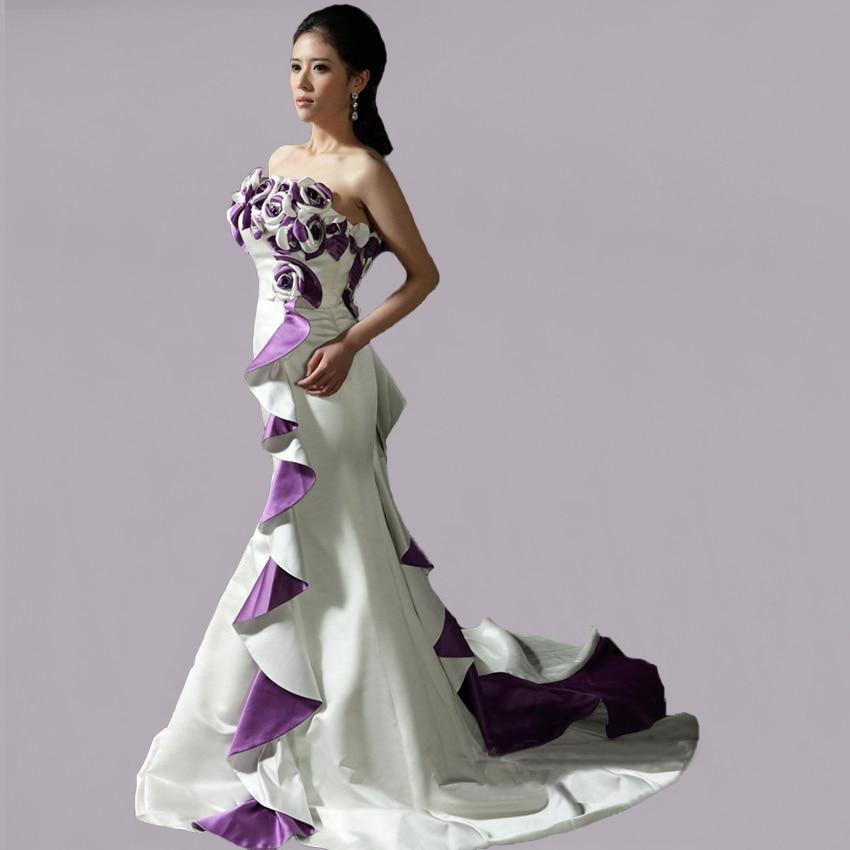 wedding dress sample strapless satin real purple and white mermaid high quality 2017 custom made boda