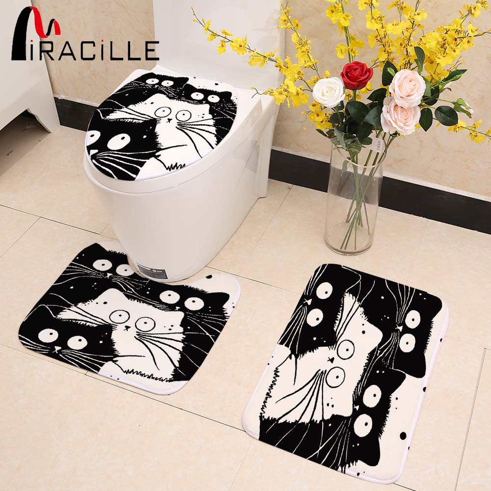 Miracille 3 Piece Set Soft Coral Fleece Toilet Sets Toilet Seat Cover Cartoon Black And White Totoro Printed Warm Bath Rug