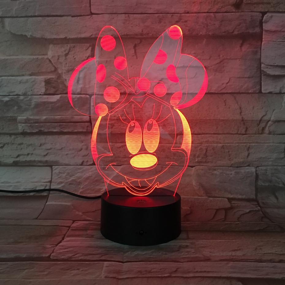 Usb 3d Led Night Light Boys Girls Child Kids Baby Gift Hologram Decorative Lights  Table Lamp Bedside Minnie Mouse Figure -in LED Night Lights from Lights ... 8e1ef453a968
