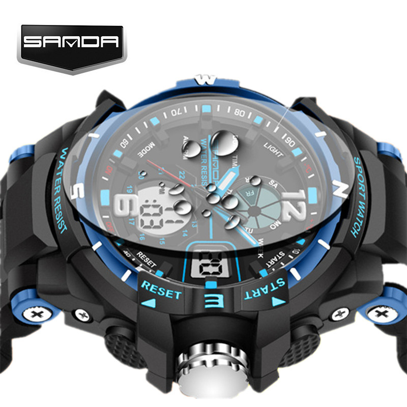 SANDA Waterproof Alarm Mens Watches Top Brand Luxury Digital Led Sports Watch Men Clock Male Wrist Watch Relogio Masculino 2017 wholesale free shipping china custom plastic cool light fashion big mens boy waterproof led alarm electronic digital watch