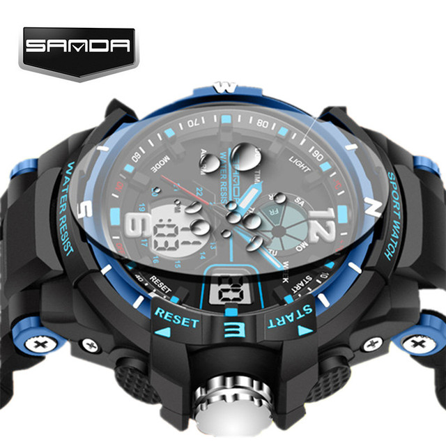 Sanda alarma impermeable para hombre relojes Top marca de lujo digital LED reloj  deportivo hombres reloj 80e552bead49