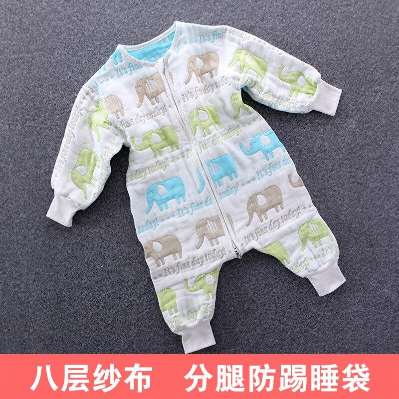 Class A cotton 8 layers gauze boneless cent leg infant sleeping bag children climb a jumpsuit 0-3years old