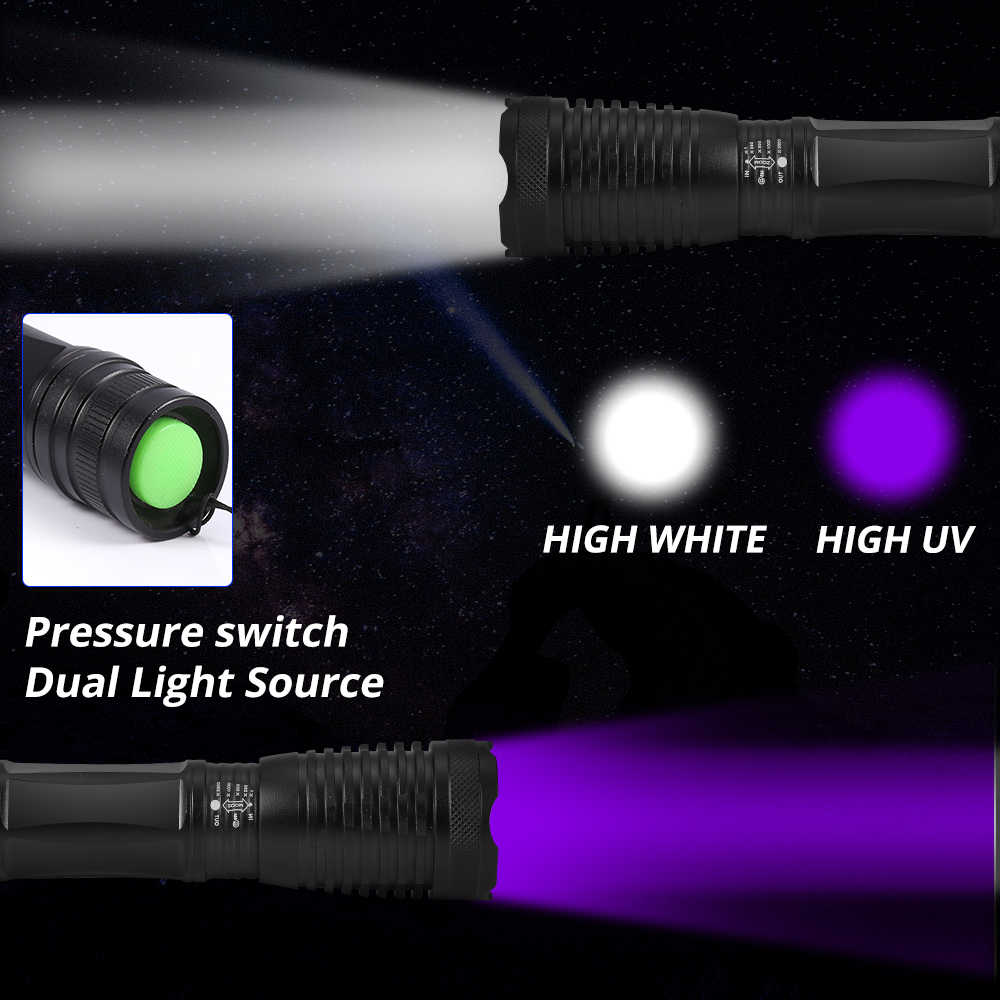 2in1 UV פנס 395nm LED טקטי לפיד Linternas סגול אור אולטרה סגול שתן גלאי Blacklight שתן עקרבים