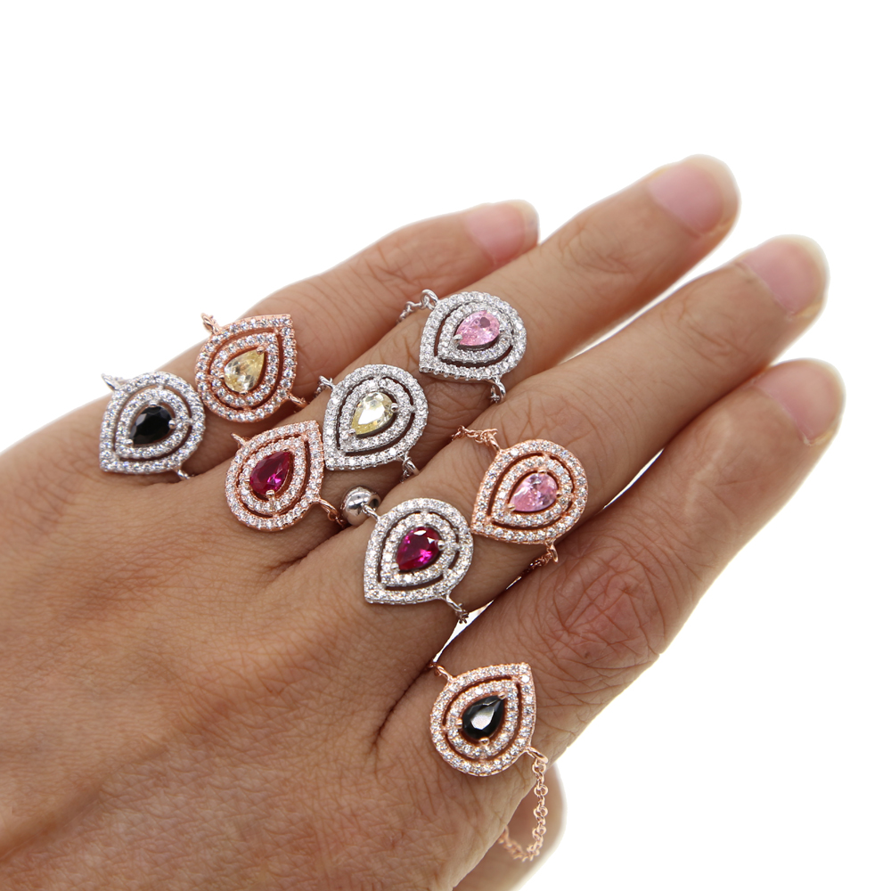 2018 birthstone silver rose gold tear drop delicate chain rings adjusted fashion wedding gift AAA cz cubic zirconia finger ring