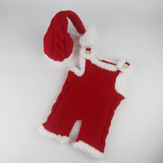 Navidad costume set fotografía atrezzo hechos a mano de punto tirantes bebé sombrero de invierno y ropa para recién nacido trajes de ganchillo