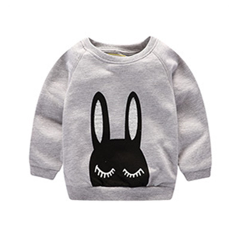 Little Maven New Autumn Spring Children Clothing Long-eared Rabbit Long- sleeved O-neck Quality Cotton Brand Girls Thick Tshirt