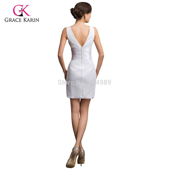 3d9ad5fbe39 placeholder Sexy Grace Karin Taffeta White Lace Short Cocktail Dress plus  size 2018 Cheap Prom Mini Party