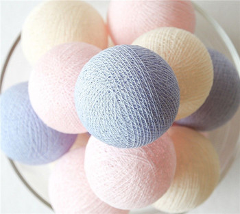 20 Balls/pcs Pink Cream Lavender/purple mixing Cotton Ball String Fairy lights Party home Patio wedding Romantic decor
