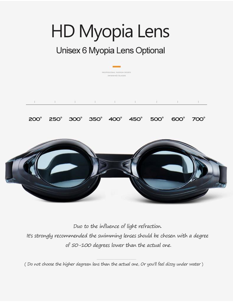 Unisex Professional Myopia Silicone Swimming Pool Glasses Anti Fog Waterproof 9
