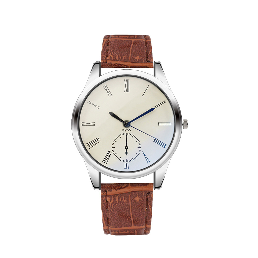 Fashion Luxury Women Mens Watch Analog Casual Brown Leather Strap Couple Lover's Watches Gifts Relogio Masculino Clock *65