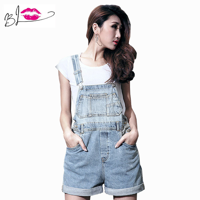 fe4a177be020 New 2015 S-XL Top Quality Women Girls Washed Jeans Denim Casual Jumpsuit  Romper Overalls Light Blue Jeans Shorts Pants bodysuit