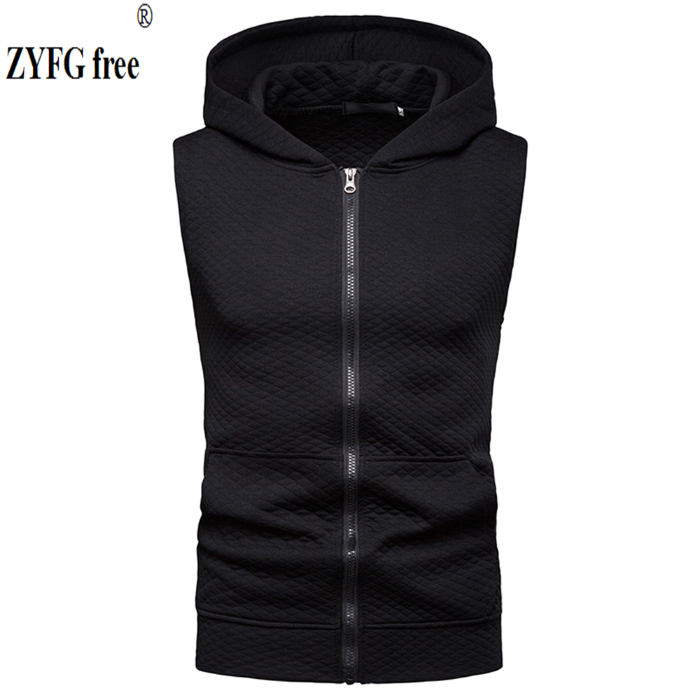 2019 hot popular casual tops men 39 s t shirts diamond pattern sleeveless hooded T shirts zipper decorative sports male clothing in T Shirts from Men 39 s Clothing