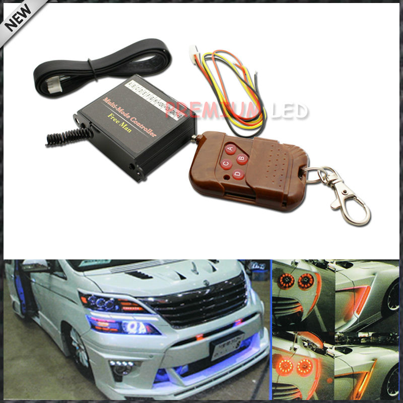 (1) 8-Output Programmable Multi-Function Flashing Controller For LED Lights w/ Wireless Remote Control For Car