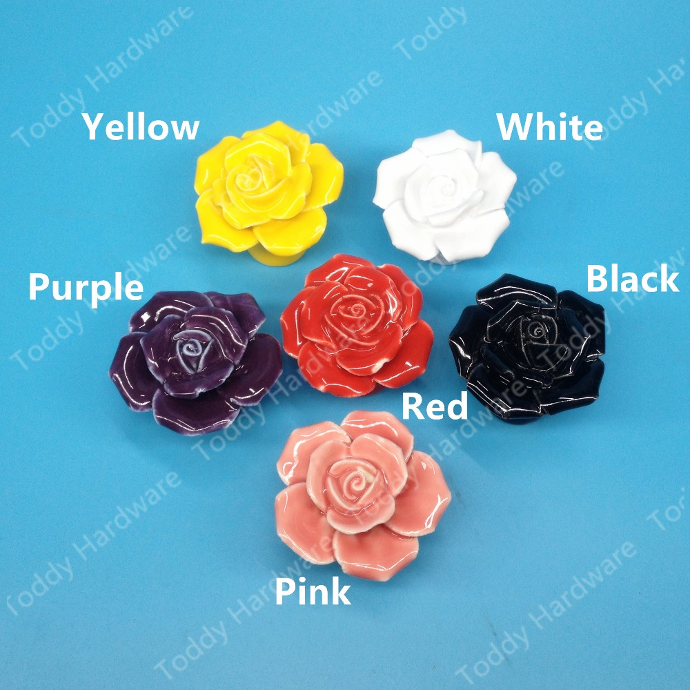 White/Pink/Yellow/black/Red/Pink Rose shaped ceramic furniture knob/handles/pulls romantic style for doors/cabinets/cupboards romantic heart shaped 19 soap rose flowers w bear doll red pink beige