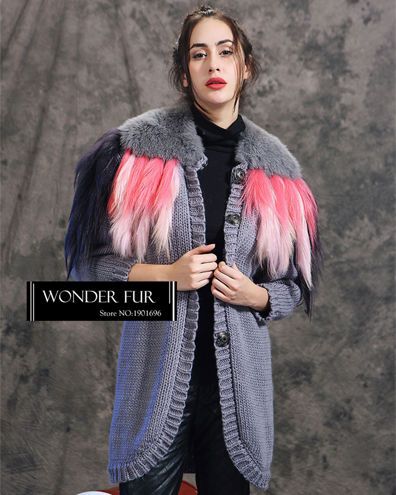 Morden Style Knitting Wool Cardigan With Fox Fur Collar And Goat Fur Tassel Long font b