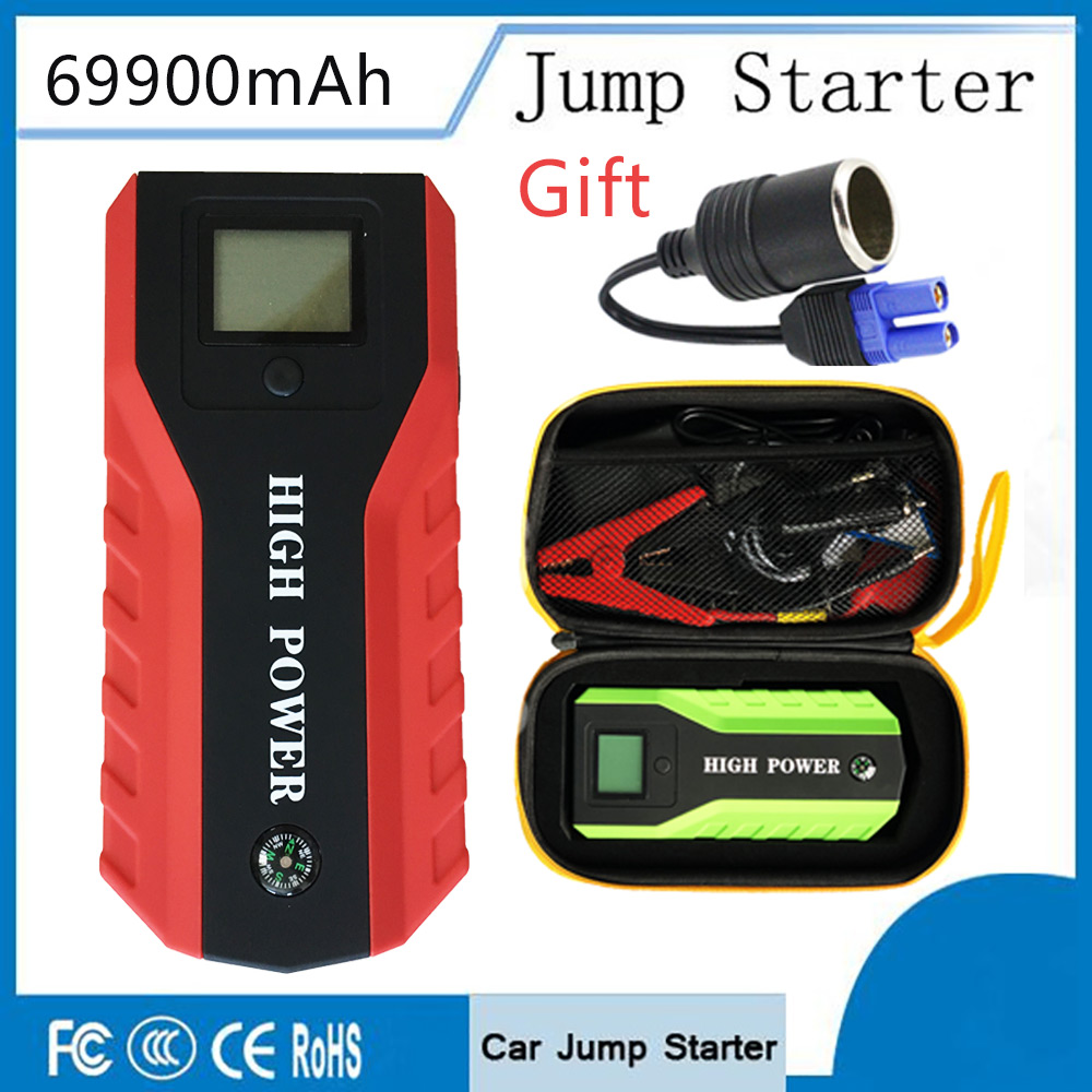 Car Jump Starter 12V Car Engine Booster Emergency Power Bank Car Charger Booster With flashlight LED and Hammer Starting Device цена 2017
