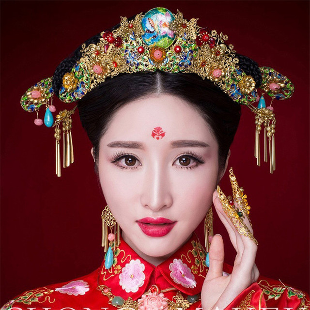 Chinese Style Wedding Accessories Jewelry Sets Gold Plated Coronet Earrings Hairpin Cloisonne Turquoise Crystal Bridal Headdress