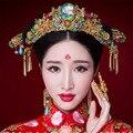 Estilo chinês Acessórios Do Casamento Conjuntos de Jóias Banhado A Ouro Coroa Brincos de Turquesa de Cristal Nupcial da Mantilha Hairpin Cloisonne