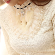 2019 new ruffle pearl women blouse lace white office lady shirts long-sleeved elegant solid slim sexy bottoming shirts tops(China)