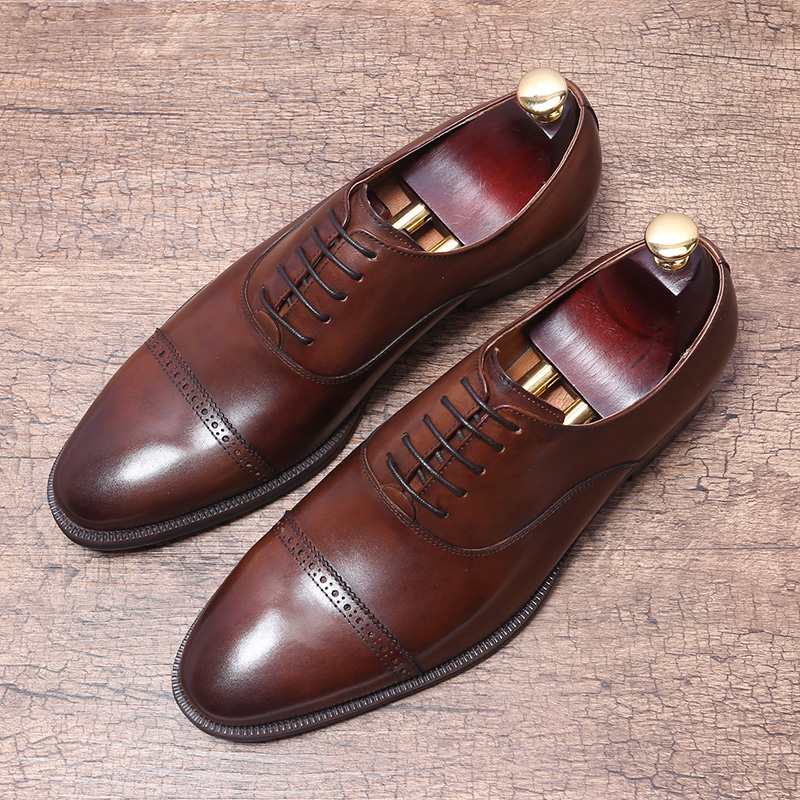 Estilo británico hecho a mano de cuero genuino traje Formal Zapatos de vestir de cuero de vaca de grano completo zapato Brogue hombres-in Zapatos formales from zapatos    2