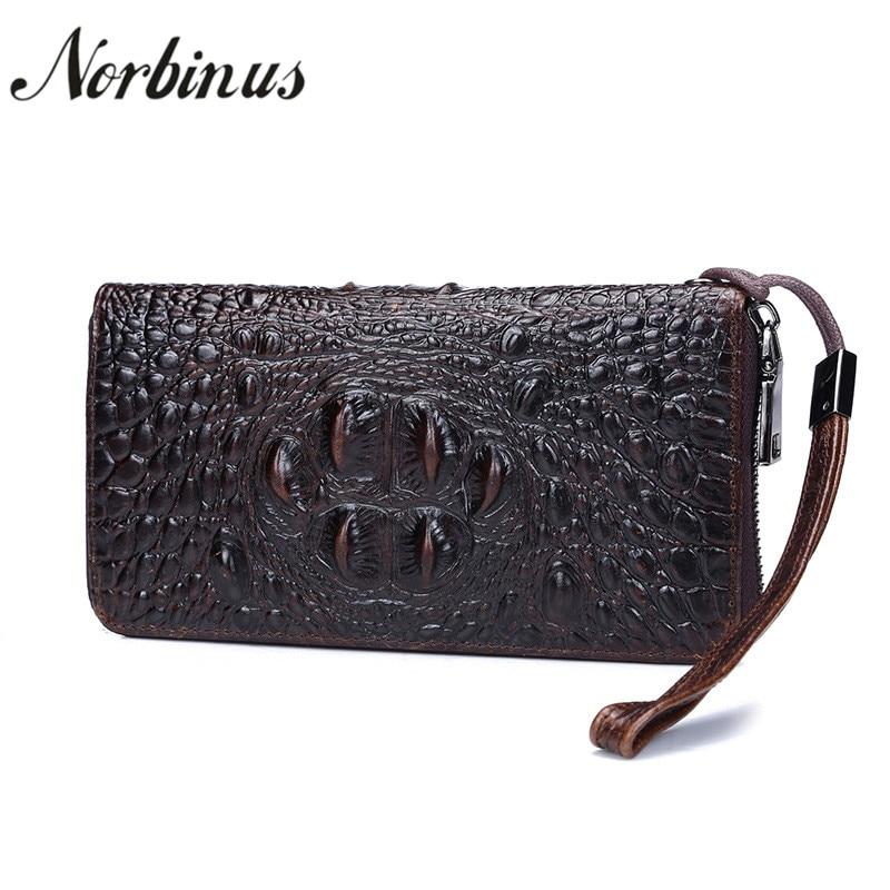 Norbinus Genuine Leather Men Wallet Crocodile Clutch Bag