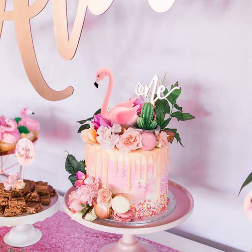 QIFU Birthday Cake Topper Wedding Pink Flamingo Decoration Party ...