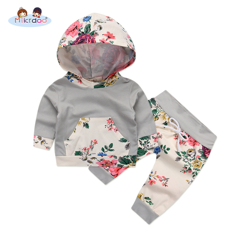 Baby Girl Hooded Clothes Set 2018 Winter Spring Floral and Striped Print Hooded Top with Pocket Pant Cotton 2PCS Tracksuit cat print hooded dress