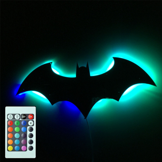 Novelty batman wall lamp sconce remote control night light rgb novelty batman wall lamp sconce remote control night light rgb mirror with illumination lampara home bedroom mozeypictures Choice Image