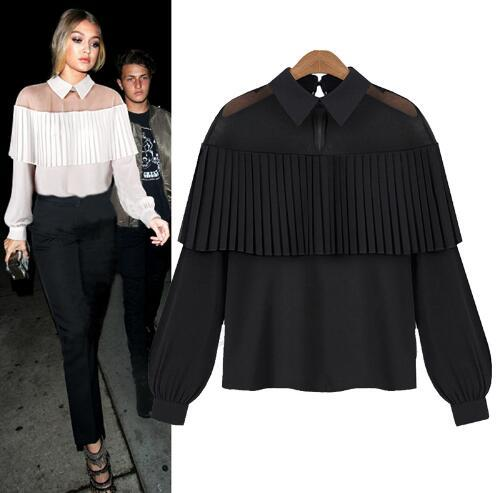 Mesh Ruffle Sheer Long Sleeve Turn Down Collar Fashion Black White Summer Office Lady Top Casual Women Shirt