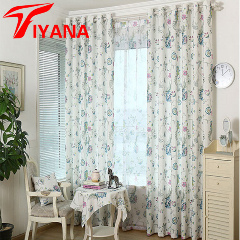 Rustic Elegant Bright Floral Printed Leaves Curtains