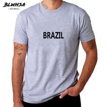 Fãs Brasil Camisas de T para Homens Camiseta de Algodão BLWHSA BRASIL Elogio Letras Impressas Homens Moda Verão Top Tee