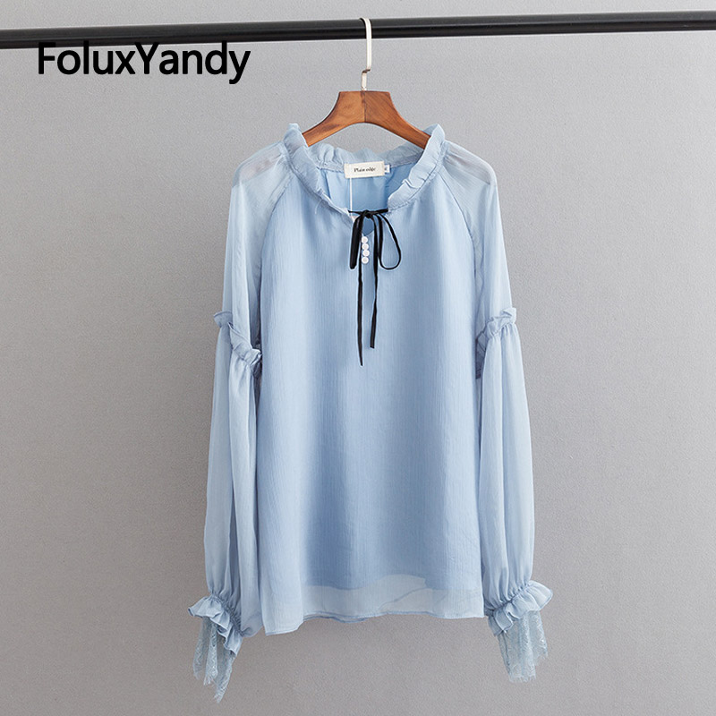 Double Layers Chiffon Blouse Women Ruffles Long Sleeve Shirt Casual V-neck Lace Up Plus Size Thin Summer KKFY3251