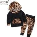 Леопард Новорожденных Девочек Одежда Новорожденного Bebek Капюшоном Топы + Брюки 2 шт. Наряды малышей Костюм Детская Одежда Набор