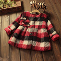 2016 winter autumn and winter Korean plaid girl single-breasted coat age from 2-6T