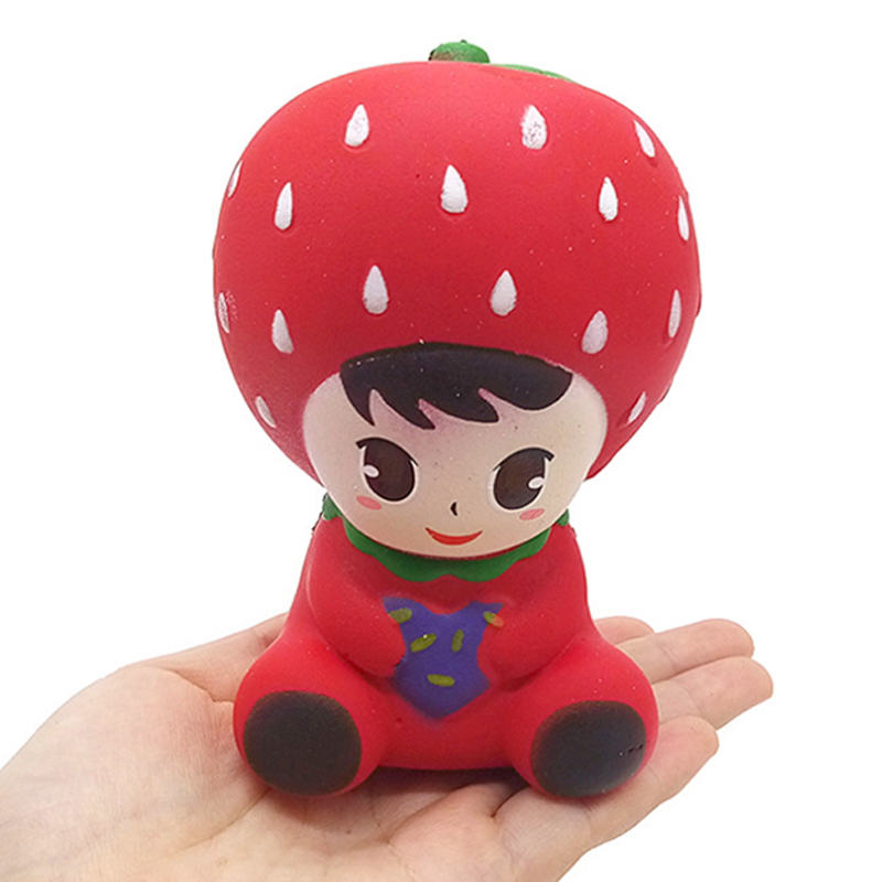 Jumbo Kawaii Strawberry Princess Squishy Slow Rising Doll PU Bread Scented Squeeze Toy Stress Relief Fun Collection For Kids
