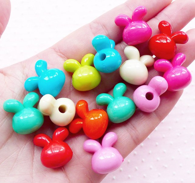 Beads & Jewelry Making Cute Animal Jewelry Kawaii Plastic Bead Bubblegum Necklace Buy Cheap 20pcs Acrylic Rabbit Beads 3d Bunny Charms 16mm X 16mm Mix Color Beads