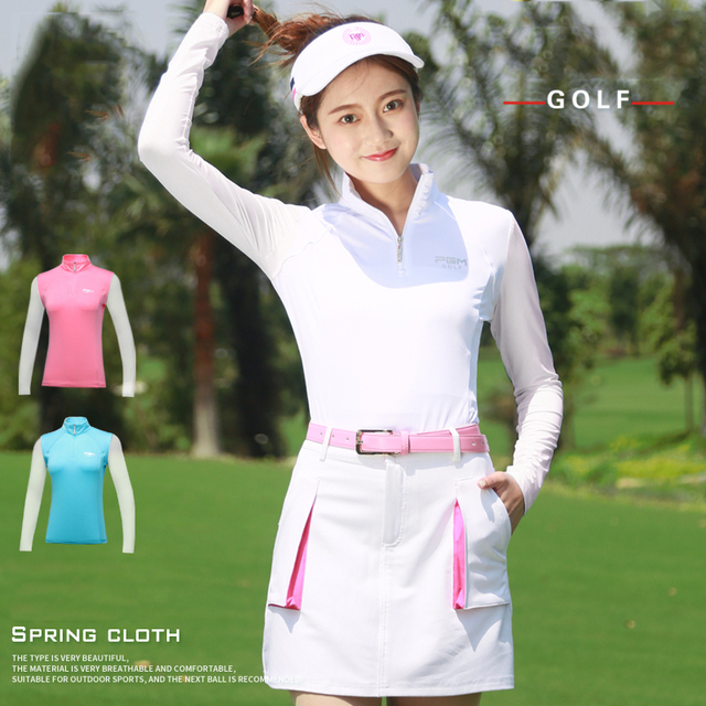 Golf Shirt Long Sleeve Golf Shirts Women Tshirt 2018 Sports Wear Sun Protection Clothing Bottoming High Colla Korean Polo Shirt