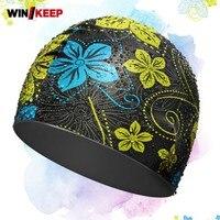 Hohe Qualität Silikon Elastische Pool Bademode Floral Bedruckte Wasserdicht Badekappen Softshell Komfort Koreanischen Ohr Schutz Hüte