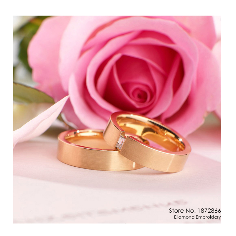 Diy Diamond Painting Cross Stitch Wedding Ring Pink Rose
