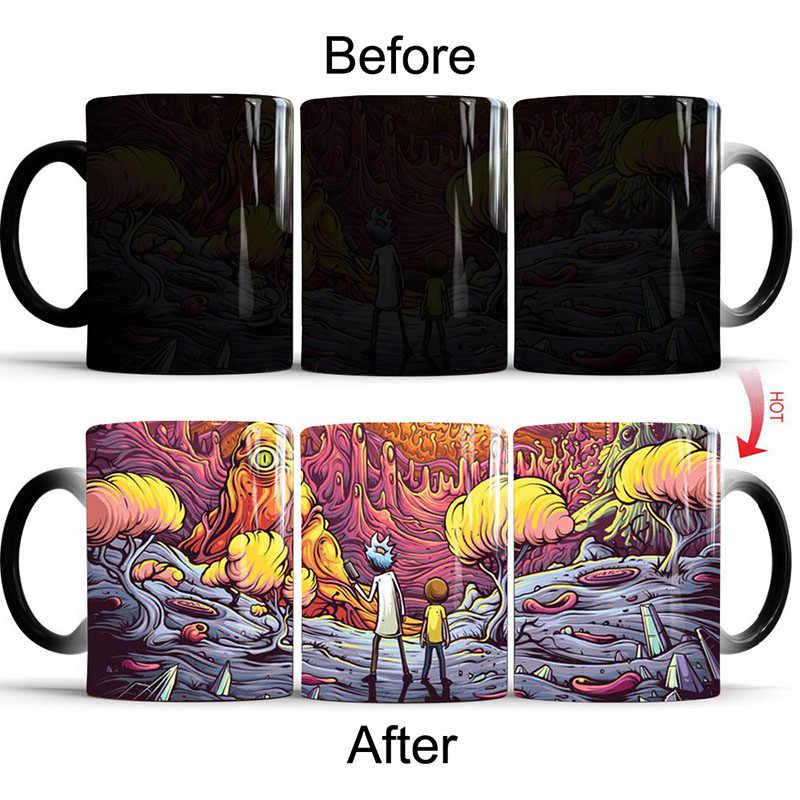Nieuwe Magic Sky Rick en Morty Cartoon Mokken Hot Gevoelige Kleur Veranderende Keramische Koffie Thee Office Mok Cup Beste Geschenken voor Vrienden