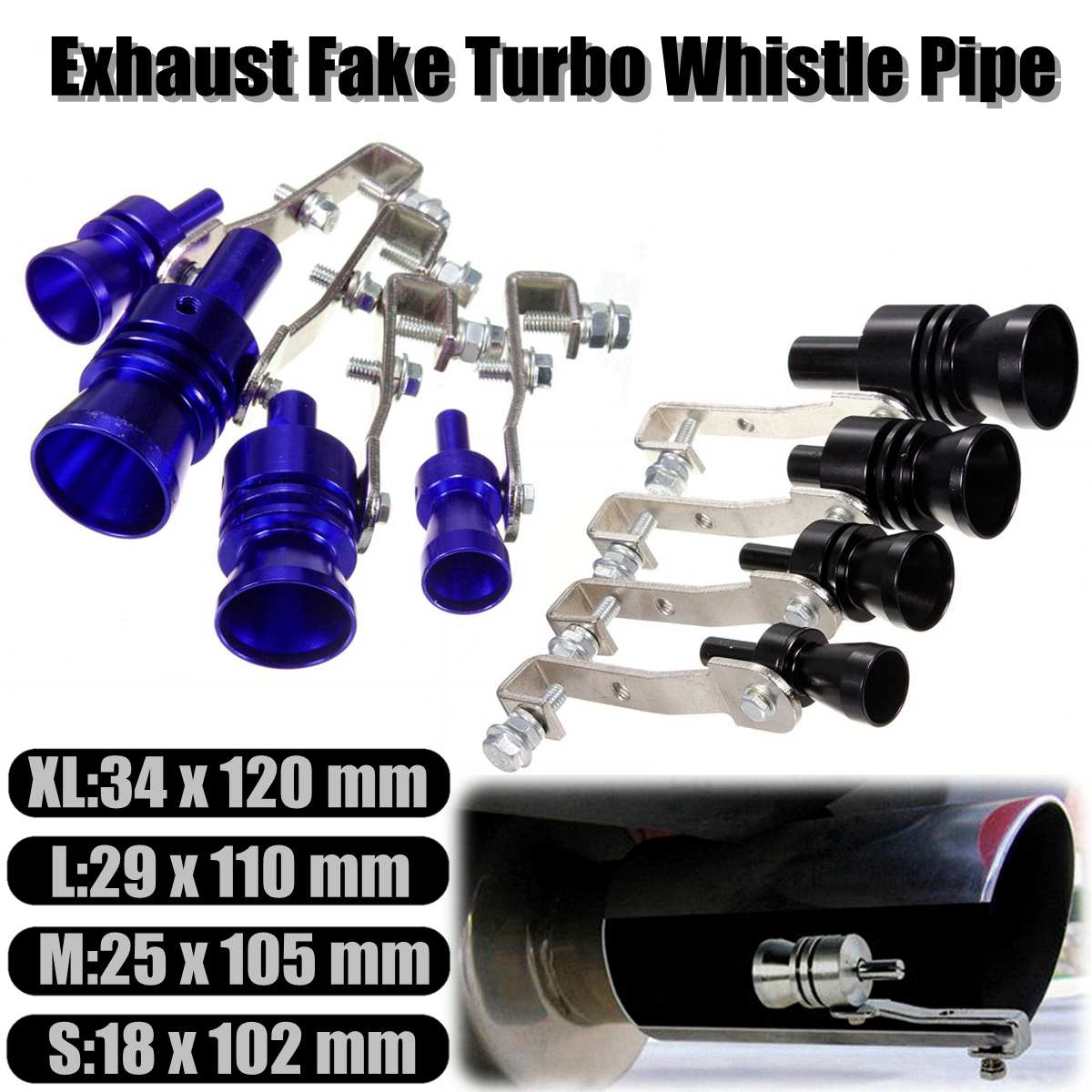 Car Vehicle Motorbike Aluminum Exhaust Fake Turbo Whistle Pipe Sound Muffler Blow Off Valve S/M/L/XL Universal