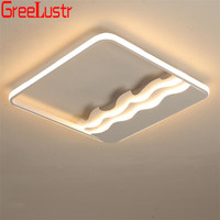 Acrylic Dimming Led Ceiling Lamp with Remote White Square Design Lustre Ceiling Light Fixtures Plafon Kitchen Indoor Lighting