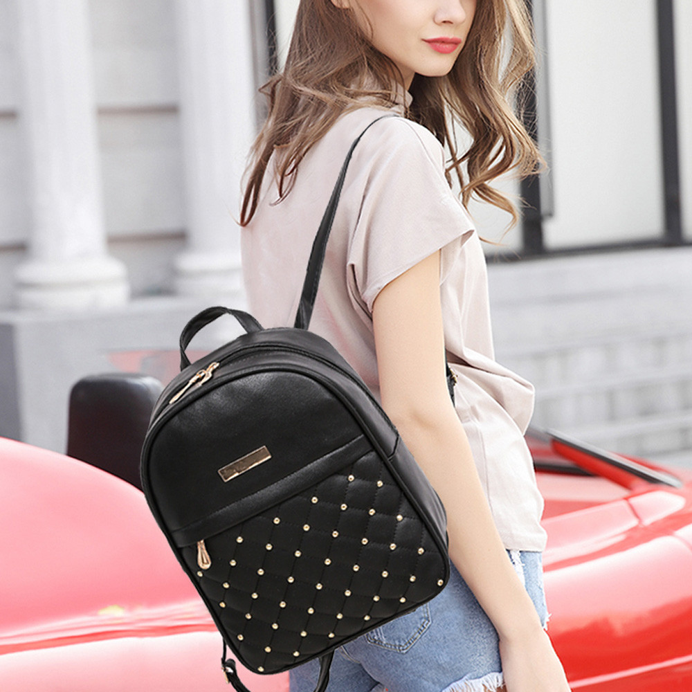 HTB1b3WGLHvpK1RjSZPiq6zmwXXaY OCARDIAN Woman packet Fashion Causal Bags Bead Female Shoulder Bag Backpacks Women Rivet Backpack dropship 19M12