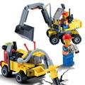 196 Unids/set Ciudad Original Asamblea Vehículos Excavadora Excavadora de Construcción Building Blocks Juguetes de Los Ladrillos Bloques de Juguete Brinquedos