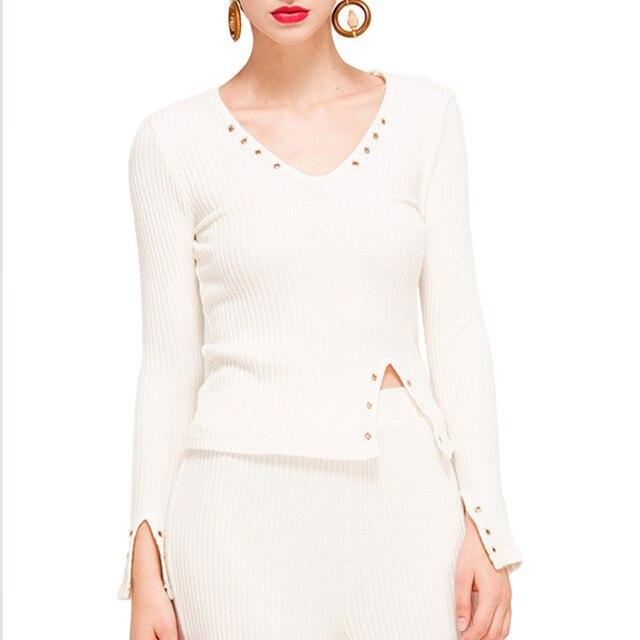 Pettigirl Womens Solid Slit Blouse Elegant Sequined V-Neck Long Sleeve Side Slit Party Tops