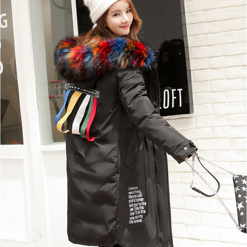 Women Big Colorful Fur Hooded Long Parka Winter Jackets 2017 Fashion Large Size Thick Warm Down Coat Female Outwear 2016 black big plus size korea fashion female outwear thick warm parka oversize fur duck down winter coat women retro with hood