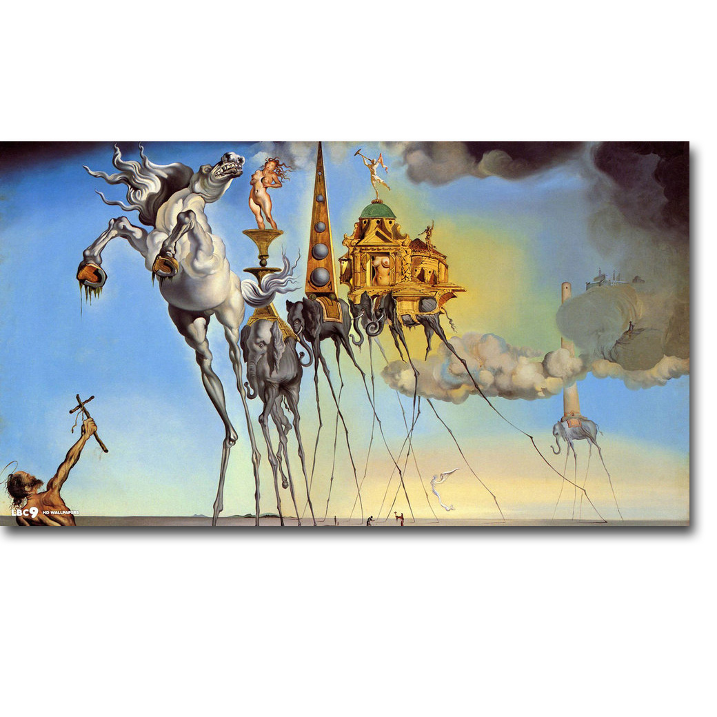 The temptation of saint anthony salvador dali art silk poster print 13x24 24x43 inch surreal abstract picture for room decor
