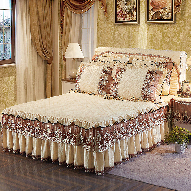 Beige Blue Pink Light Green Khaki luxury Lace bedding Bed Skirt set Crystal Velvet Thick Bedspread Bed Linen Pillowcase 3Pcs