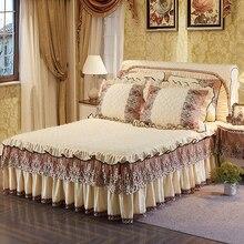 Beige Blue Pink Light Green Khaki luxury Lace bedding Bed Skirt set Crystal Velvet Thick Bedspread Bed Linen Pillowcase 3Pcs