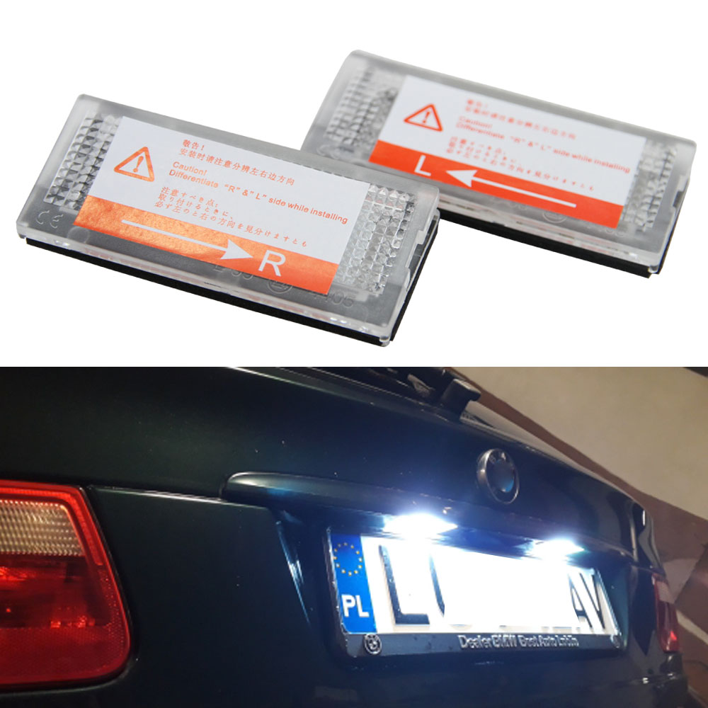 2x Car LED License Plate Lights 12V For BMW E46 4D 323i 325i 328i Accessories White SMD3528 LED Number Plate Lamp Bulb Kit hot 2pcs error free 3528 smd 18 led car led license number plate light lamp white for bmw e46 4d sedan 5d wagon 12v